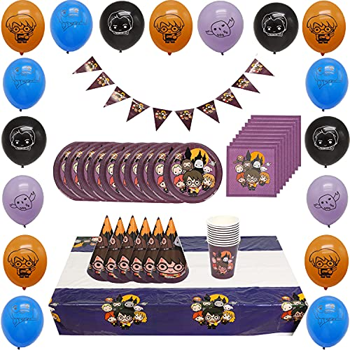 KENG 98Pcs Harry Potter Magic Theme Party Set,Environmentally Friendly Tableware,10Guests Party Supplies,Cup Spoon Plate Fork Tablecloth Tissues Banner Balloon