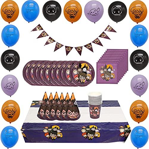 KENG 98 Pcs Harry Potter Mágica Temática Fiesta Reciclable Vajilla 10 Invitados Taza Cuchara Plato Tenedor Mantel Pañuelos Pancarta Globo