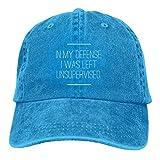 XCNGG en mi Defensa me dejaron sin supervisión Unisex Sombreros de Vaquero Deporte Sombrero de Mezclilla Moda Gorra de béisbol Negro