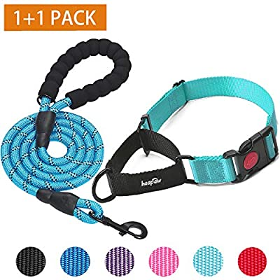 """haapaw 2 Packs Martingale Dog Collar with Quick Release Buckle Reflective Dog Training Collars for Small Medium Large Dogs (Collar+Leash, M Neck 14""""-16.5"""", Turquoise+Turquoise, 2 Packs)"""