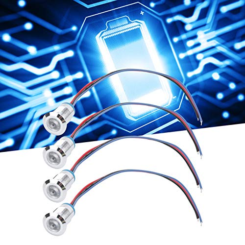 Indicador de metal LED de 4 juegos, indicador de señal de metal impermeable IP66 Lámpara de señal impermeable DC12V Lámpara de luz(Red and blue, Pisa Leaning Tower Type)