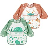 <span class='highlight'><span class='highlight'>Discoball</span></span> Baby Bibs Long Sleeves, Feeding Bibs Apron 2 Pcs Waterproof Unisex Weaning Bib for Infant Toddler 6 Months to 3 Years Old