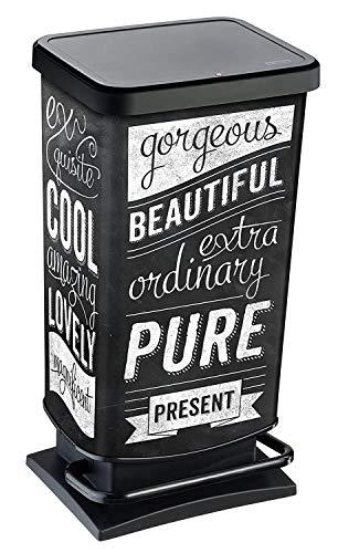 Rotho Paso, Cubo de basura de 40l con pedal y tapa, Plástico PP sin BPA, hipster, 40l 35.3 x 29.5 x 67.6 cm