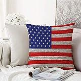 decoración Cuadrada, Conjunto rústico de la Bandera de los EE. UU, Arpillera del 4 de Julio, Día de la Independencia, Aspecto,Funda de Almohada Almohada para Coche Almohada para sofá casero