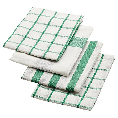 IKEA ELLY 20277766 キッチンクロス ホワイト グリーン 50x65cm 4 ピース