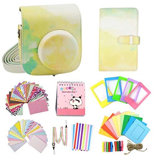 compatible con Fujifilm Instax Mini 11/9/8/8+ cámara de película Polaroid instantánea con bolsa de piel sintética suave y correa de hombro desmontable, juego de regalo – amarillo verde abstracto