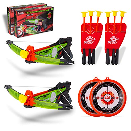 NeatoTek 2 Packs Kids Archery Bow Arrow Toy Set with Targets, Suction Cup Arrows and Quiver, LED Light Up Function Toy for Boys Girls Indoor and Outdoor Play