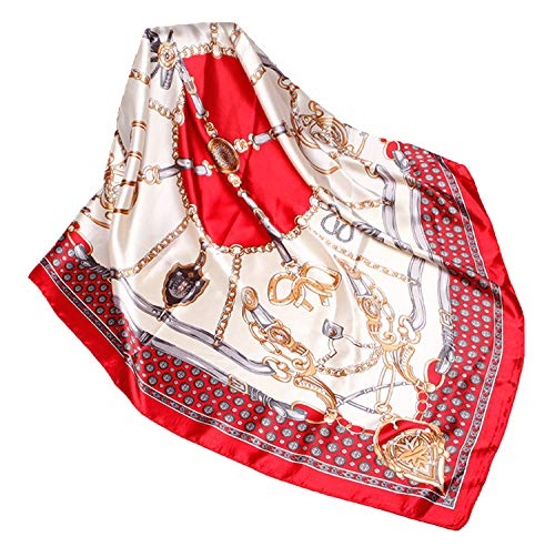 Wander Agio Silk Feeling Scarf Womens Fashion Printing Scarves Square Satin Face Headscarf Pattern Chain Red 16