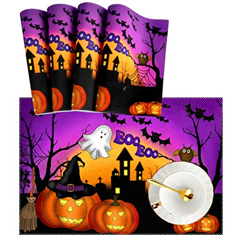 Naanle Halloween Placemats Set of 4 Ghost Owl Pumpkin Heat-Resistant Washable Table Place Mats for Kitchen Dining Table Decoration