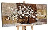 YS-Art | Dipinti a Mano Colori acrilici Vaso con Fiori IV | Quadro Dipinto a Mano | 120x60cm | Pittura | Dipinti Modern | Quadri Dipinti a Mano | Marrone