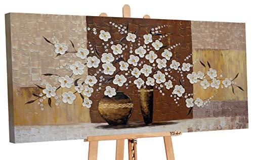 YS-Art | Acryl Gemälde Topf mit Blumen IV | Handgemalte Leinwand Bilder | 120x60cm | Wandbild Acrylgemälde | Moderne Kunst | Leinwand | Unikat | Braun