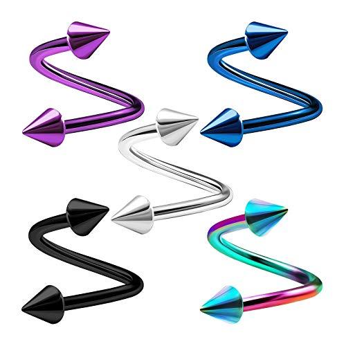 KJM FASHION 5 STK Eloxiert Chirurgischer 316-l-stahl Spiral 1,2 mm 16 g 8mm 5/16 3mm Kegel Cartilage Tragus Helix Lip Ohrringe Piercing Schmuck 3769