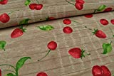 Stoffe Schulz | Canvas Deko Stoff, Erdbeeren/Kirschen |