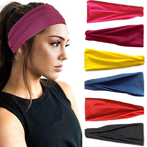 IYOU Sport Stirnbänder Damen Yoga Schweißband Stretchy Fitness Haarbänder Baumwolle Schwarz Stirnband für Frauen und Mädchen (6er Pack)