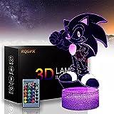 Sonic El erizo J 3D lámpara LED 16 color USB táctil y control remoto lámpara de mesa luz de noche para bebé dormitorio lámpara dormir luz niño niño regalo
