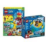 Lego City Set - Mini submarino 60263 + cuaderno Lego City (póster, cómics, rompecabezas), incluye bolsa de plástico con buceador