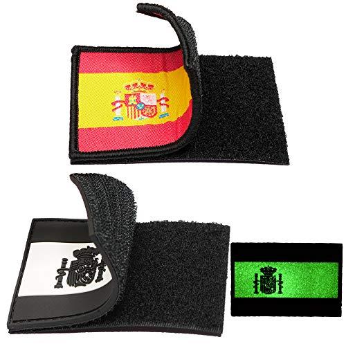 2 Parches bordados bandera España con Velcro - Color y Fluerescente - Escudos bordados - 2 Insignias - Parches Militares - 75 x 50 mm