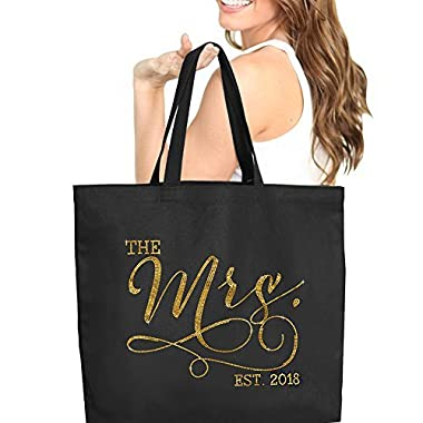 The Mrs. EST 2018 Black Gold Rhinestud Jumbo Canvas Tote Bag for the Bride 18  X 14  Tote(Mrs 2018 GLD) BLK