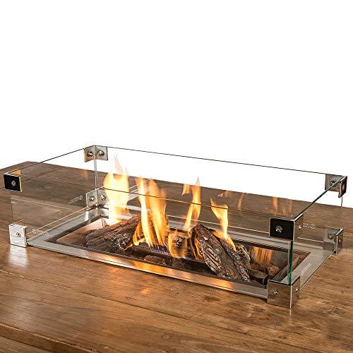 M A N I A Schutzglas für Feuertisch Einbaumodelle - Schutz Glas passend für rechteckiger Mania Feuertisch Einbau - Glasschirm gegen Wind 72 x 35 x 17 cm