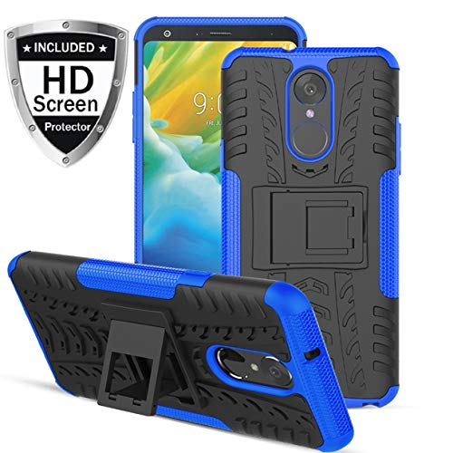 Numy LG Stylo 4 Case,LG Stylo 4 Plus Case,LG Q Stylus Case, Dual Layer Shockproof,Highly Protective w Kickstand Hard PC & Soft TPU Phone Case,w HD Screen Protector,Attractive Tire Appearance-Blue
