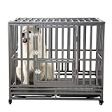 """SMONTER 42"""" Heavy Duty Strong Metal Dog Cage Pet Kennel Crate Playpen Wheels,I Shape, Silver … …"""