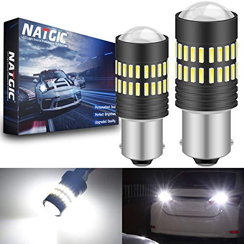 NATGIC 1156 BA15S 7506 1095 1141 LED Ampoules Jeu de puces LED 2400LM 48-SMD 4014 LED Blanc xénon avec projecteur pour Feux de Position latéraux d'arrêt de Frein arrière (Lot de 2)
