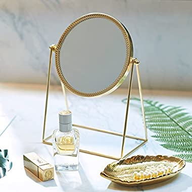 PuTwo Makeup Mirror Metal Gold Round Make-up Mirror Golden Makeup Vanity Mirror Decorative Mirrors Perfect for Dressing Table - Champagne Gold