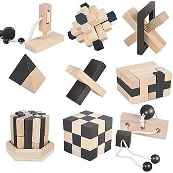 B&Julian ® 3D IQ Puzzle en bois enfants adulte Casse-tête 9 jeux ensemble Idées de contenu Advent