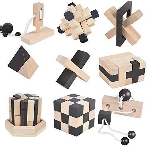 B&Julian-3D Puzzle Réflexion logique, dextérité, MZ1106-631, Naturel, Noir