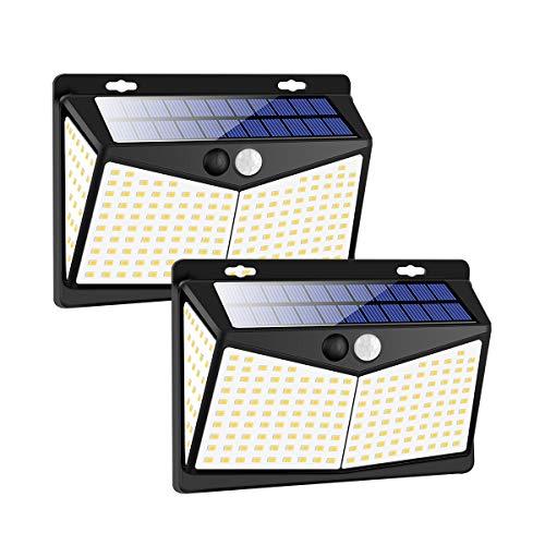 Luce Solare LED Esterno[2 Pezzi ] 208 LED IP65 Impermeabile 3 Modalità per Giardino,Parete Sensore di Movimento Parete Wireless Risparmio [Classe di efficienza energetica A+++]