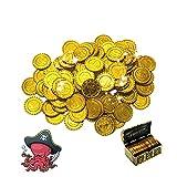 LUKIUP 100 Piezas Monedas de Oro de Plástico, Plastico Monedas De Oro, Juguetes Aptos como obsequio en cumpleaños, Navidades