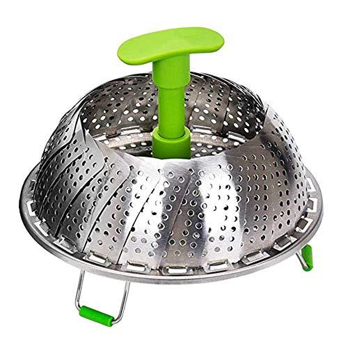 Voarge Edelstahl Dampfgarer Dampfgarer Einsatz für Topf, mit Anti-heiß ausziehbarem Griff und rutschfesten Beinen,faltbar Dampfeinsatz für Veggie Fisch Meeresfrüchte Kochen(Blattform)