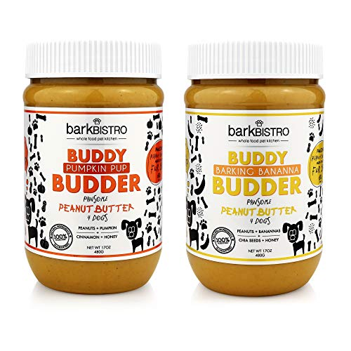 Price comparison product image BUDDY BUDDER Bark Bistro Company,  BARKIN' Banana Pumpkin PUP,  Dog Peanut Butter,  Healthy Dog Treats,  Peanut Butter Dog Treats - Made in USA (Set of 2 / 16OZ Jars)