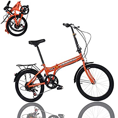 20in 7 Speed Folding Bike for Men & Women High Tensile Steel Folding Frame with V Brake Rear Carry Rack Max Weight 220lbs Mini Compact Bike Bicycle Urban Commuters (Orange)