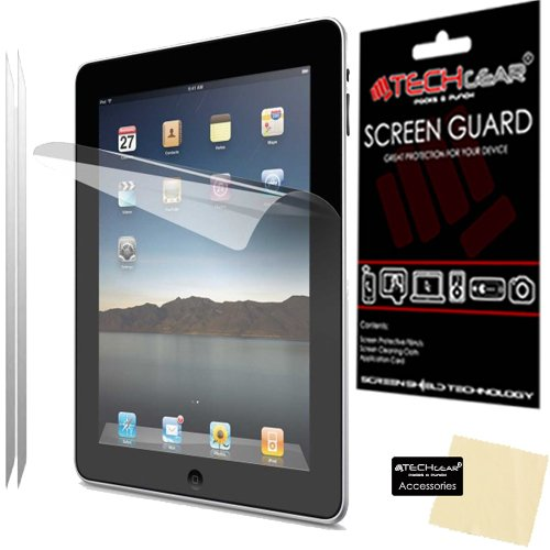 TECHGEAR [2 Pack] Screen Protectors for iPad 4 iPad 3 & iPad 2 - Clear Screen Protector Guard Covers with Cloth & App Card - for 2nd, 3rd & 4th Generation iPad
