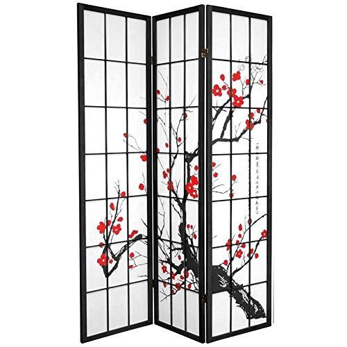 Fine Asianliving Japanische Paravent Raumteiler Shoji Japanische Paravent Raumteiler Trennwand B135xH180cm 3-teilig Kirschblüten Schwarz Raumtrenner Spanische Wand Sichtschutz Trennwand -