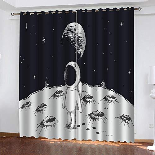 LucaSng Universo tende oscuranti per finestre cameretta Astronauta tende oscuranti per interni 2 pezzi 3D motivo Tende Camera da Letto Oscuranti Termiche Isolanti Moderne 70x160 cm