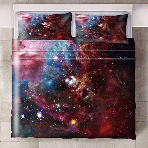 Teqoasiy - 3D Modelo De La Impresión Rojo Espacio Estrellas Aurora 229x229cm Duvet Cover Set - Suave Microfibra 3Piece El Sistema Del Lecho Funda Nórdica - Suave Hipoalergénica Con 2 Fundas De Almohad