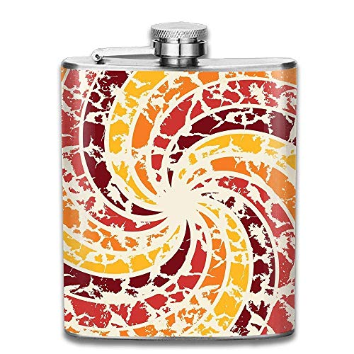 Stainless Steel Flask Abstract Spiral Wine Bottle with Lid Leak Proof 7 Ounce