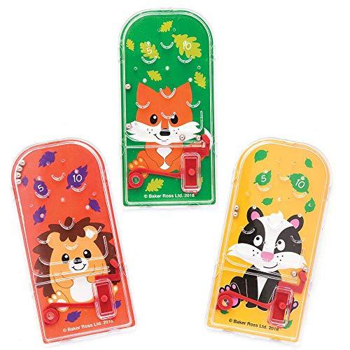 Baker Ross Mini Flipper Amici del Bosco (confezione da 8) regalini, premi e sorpresine per bambini per feste di compleanno e atro