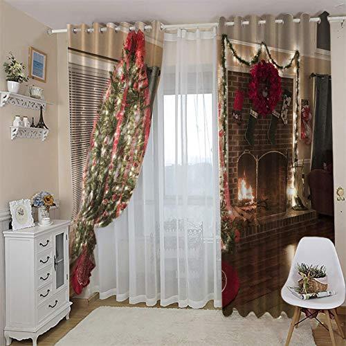 cortinas opacas cocina ventana 23x27 Inch Árbol de Navidad armario tablero de madera. Cortinas Cortas Modernas Salon Termicas Aislantes Ruido/Cortina Antimosca de Dormitorio Infantil Niño Niña Ventana