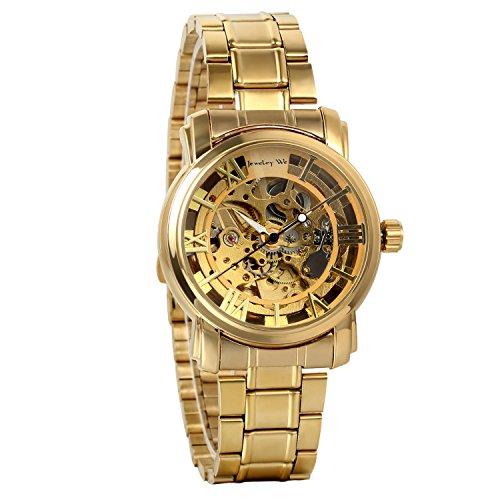 Avaner Reloj Oro Dorado de Esfera Transparente Reloj de Caballero Mecánico Esqueleto, Hombre Reloj de Correa de Acero Inoxidable Diseño Original Regalos Dia del Padre
