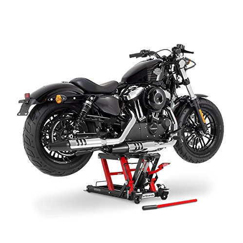 Motorrad Hebebühne ConStands Mid-Lift L schwarz-rot für Harley Davidson Dyna Wide Glide (FXDWG), Electra Glide/ Classic (FLHTC/I) /(FLHT), Electra Glide Sport/ Standard (FLHS) /(FLHT), Electra Glide Ultra Classic/ Limited (FLHTCU/I)/(FLHTK), Fat Boy/ Special (FLSTFB)/ (FLSTF), Heritage Softail Classic/ Special (FLSTC)/(FLSTN), Heritage Springer (FLSTS), Night Train (FXSTB), Night-Rod/ Special (VRSCDX)/(VRSCD), Road King (FLHR/I), Road King Classic/ Custom (FLHRC/I)/(FLHRSI)