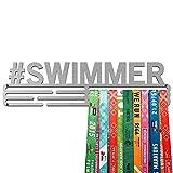 United Medals Swimmer Medalla Percha | Acero Cepillado (43cm / 48 Medallas) Soporte para Medallas Deportivas