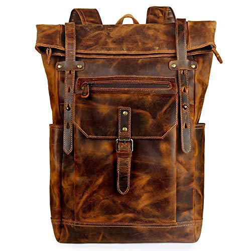 Source Point Zaino da uomo in vera pelle, stile vintage, per laptop, zaino scolastico