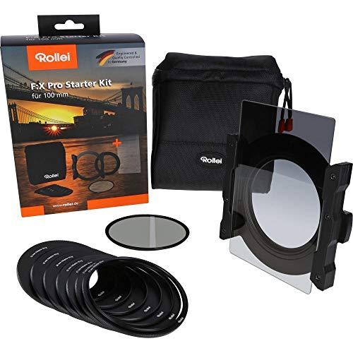 Rollei F:X Pro Starter Kit I Filterhalter für 100mm Rechteckfilter, inkl. Verlaufsfilter Soft GND8 & Polfilter, Objektivadapter 52 – 82mm, Filtertasch.