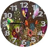 AZHOULIULIU Co.,ltd Mariposas Coloridas con Flor Reloj de PVC Reloj Decorativo Círculo Reloj de Pared