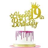 Ushinemi Happy 19th Birthday Cake Topper, 5.9x4.75 inch, Gold