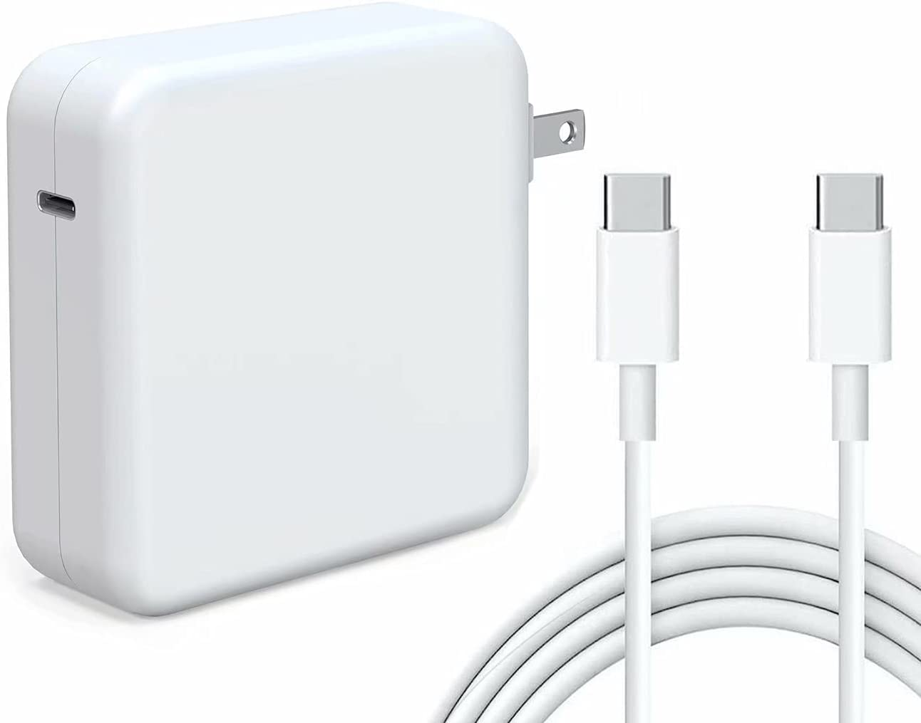 Kiolafy 87W USB C Power Adapter, Compatible with MacBook Pro Charger 13 15 16 inch 2020 2019 2018, Works with USB C 87W 61W PD Power Charger, Included USB-C to USB-C Charge Cable (6.6ft/2m)