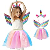 Tutus Skirt for Girl Toddler Tulle Princess Dress Up Costumes Tutu Dress with Unicorn Headband Butterfly Fairy Wings (4-8 Years) Rainbow